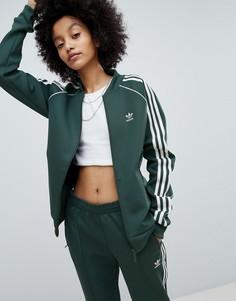 Зеленая спортивная куртка с тремя полосами adidas Originals adicolor - Зеленый