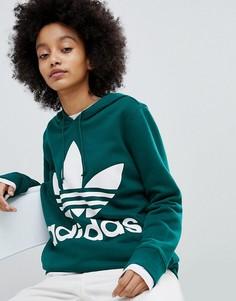 Худи зеленого цвета с логотипом-трилистником adidas Originals adicolor - Зеленый