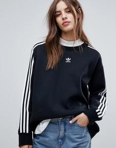 Черный свитшот с тремя полосками adidas Originals adicolor - Черный