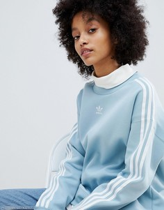Голубой свитшот с тремя полосками adidas Originals adicolor - Синий
