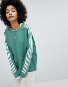 Зеленый свитшот с тремя полосками adidas Originals adicolor - Зеленый