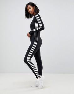 Черный комбинезон с отделкой тремя полосками и штрипками adidas Originals adicolor - Черный