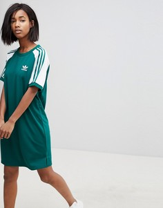 Зеленое платье с рукавами реглан и тремя полосками adidas Originals adicolor - Зеленый