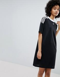 Черное платье с полосками adidas Originals adicolor - Черный