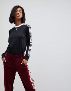 Черный трикотажный топ с тремя полосками adidas Originals adicolor - Черный