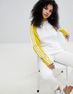 Желтый топ с рукавами реглан и тремя полосками adidas Originals adicolor - Желтый