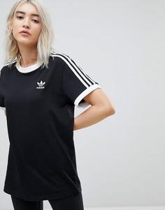 Черная футболка с тремя полосками adidas Originals adicolor - Черный