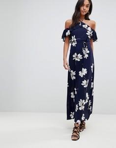 Платье макси с цветочным принтом AX Paris - Темно-синий