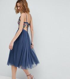 Платье миди на бретелях с открытой спиной Needle & Thread - Синий