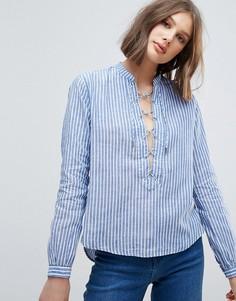 Блузка в полоску со шнуровкой Pepe Jeans - Синий