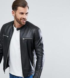 Черная кожаная байкерская куртка Replay - Черный