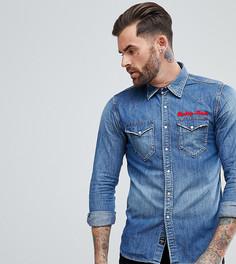 Джинсовая рубашка с вышивкой Replay - Синий