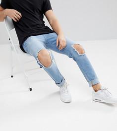 Светлые джинсы скинни с рваной отделкой Brooklyn Supply Co - Синий