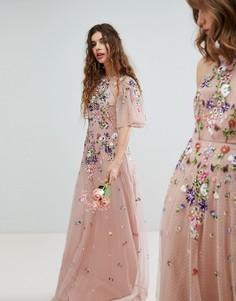 Платье макси из сетки добби с цветочной вышивкой и рукавами клеш ASOS WEDDING - Мульти