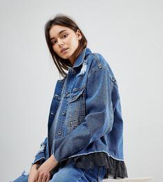 Джинсовая оверсайз-куртка с сетчатой подкладкой Kubban Tall - Синий