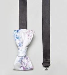 Бархатный галстук-бабочка с принтом Noose & Monkey - Белый