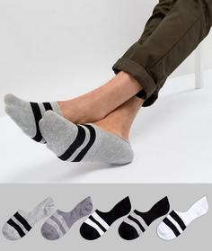 5 пар черно‑белых носков‑подследников в полоску ASOS - Мульти