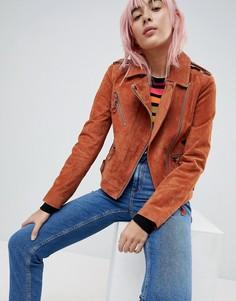 Замшевая байкерская куртка ASOS - Коричневый