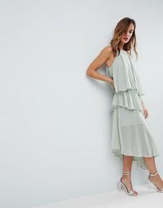 Платье миди на бретельках с блестками ASOS - Зеленый