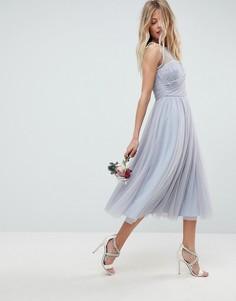 Платье миди для выпускного с отделкой искусственным жемчугом ASOS WEDDING - Синий