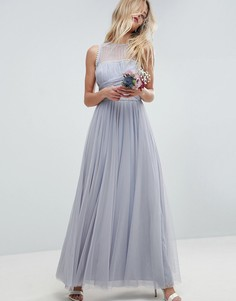 Платье макси с искусственным жемчугом ASOS WEDDING - Синий