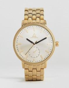 Позолоченные часы-браслет с тиснением на безеле и дополнительным циферблатом ASOS - Золотой