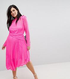 Кружевное асимметричное платье миди ASOS CURVE - Розовый