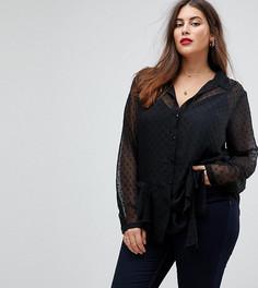Блузка в горошек добби ASOS CURVE - Черный