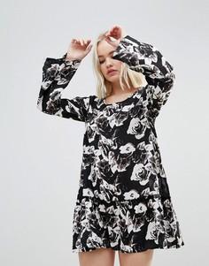 Платье с цветочным принтом и оборкой Rock & Religion - Черный