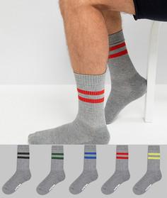 5 пар серых меланжевых спортивных носков с фирменной подошвой ASOS - Серый