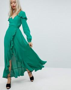 Платье макси с оборками и открытой спиной ASOS - Зеленый