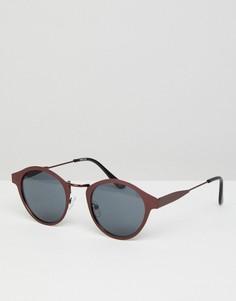 Круглые солнцезащитные очки с медной оправой и дымчатыми стеклами ASOS - Медный