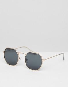 Круглые солнцезащитные очки в золотистой металлической оправе с дымчатыми стеклами ASOS - Золотой
