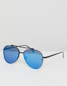 Солнцезащитные очки-авиаторы в матовой черной металлической оправе с синими зеркальными стеклами ASOS - Черный