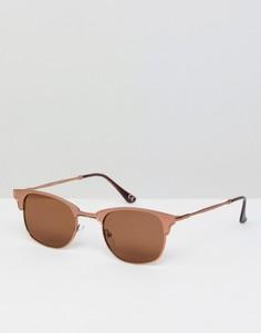 Солнцезащитные очки в стиле ретро с металлической оправой и коричневыми стеклами ASOS - Медный