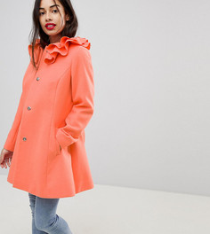Короткое приталенное пальто с воротником-оборкой ASOS PETITE - Розовый