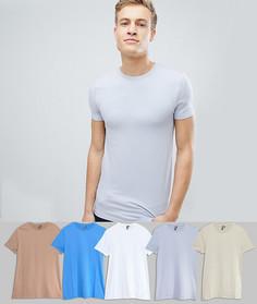 Комплект из 5 футболок с круглым вырезом ASOS - СКИДКА - Мульти