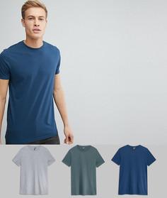 Набор из 3 футболок с круглым вырезом ASOS - СКИДКА - Мульти
