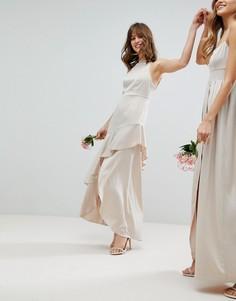 Атласное платье макси с оборкой ASOS Wedding - Кремовый
