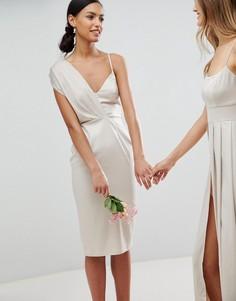 Платье-футляр миди с завязкой на спине ASOS Wedding - Кремовый