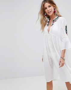 Пляжное платье миди с вышивкой Liquorish - Белый