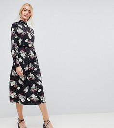 Платье миди с бархатной отделкой и цветочным принтом Influence Tall - Черный