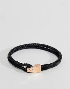 Кожаный браслет с крючком Steve Madden - Черный