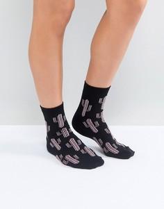 Носки с блестками и рисунком кактуса ASOS - Черный
