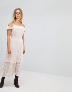 Платье макси с отделкой Vero Moda - Кремовый