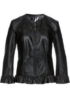 Куртка из искусственной кожи с рюшами (черный) Bonprix