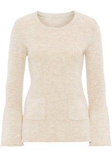Пуловер вязаный с расклешенным рукавом (бежевый меланж) Bonprix