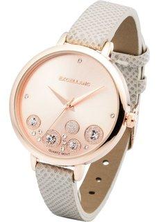 Часы с блестящими камешками (серый/розово-золотистый) Bonprix