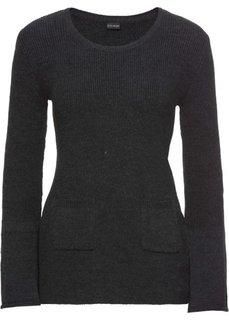 Пуловер вязаный с расклешенным рукавом (темно-серый меланж) Bonprix