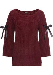 Пуловер вязаный с лентами (бордовый) Bonprix